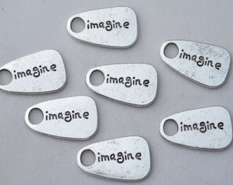 6 Pcs Imagine Charms Antique Silver Tone 2 Sided 13x22mm - YD1476