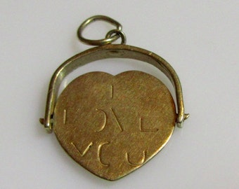 9ct Gold I Love You Heart Spinner Pendant or Charm