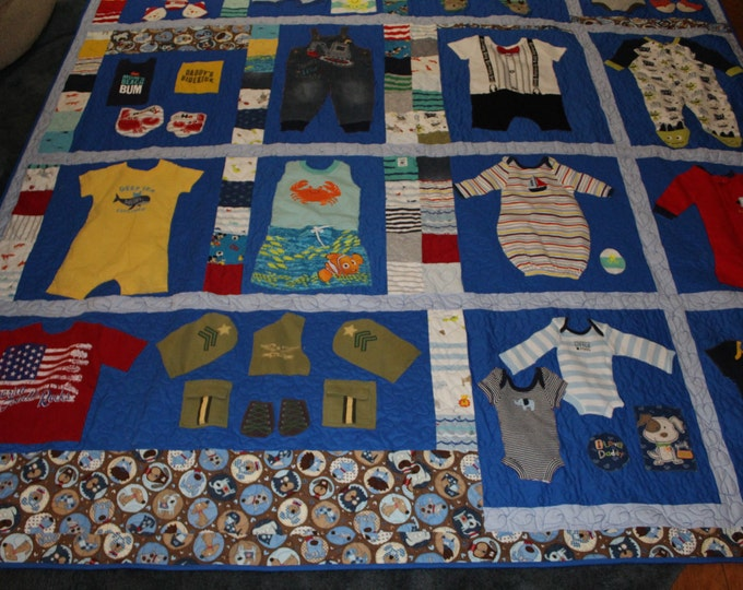 Baby boy 1st year quilt, First year memory quilt,Baby clothes quilt, Baby boy clothing memory quilt,queen size memory quilt,Throw size quilt