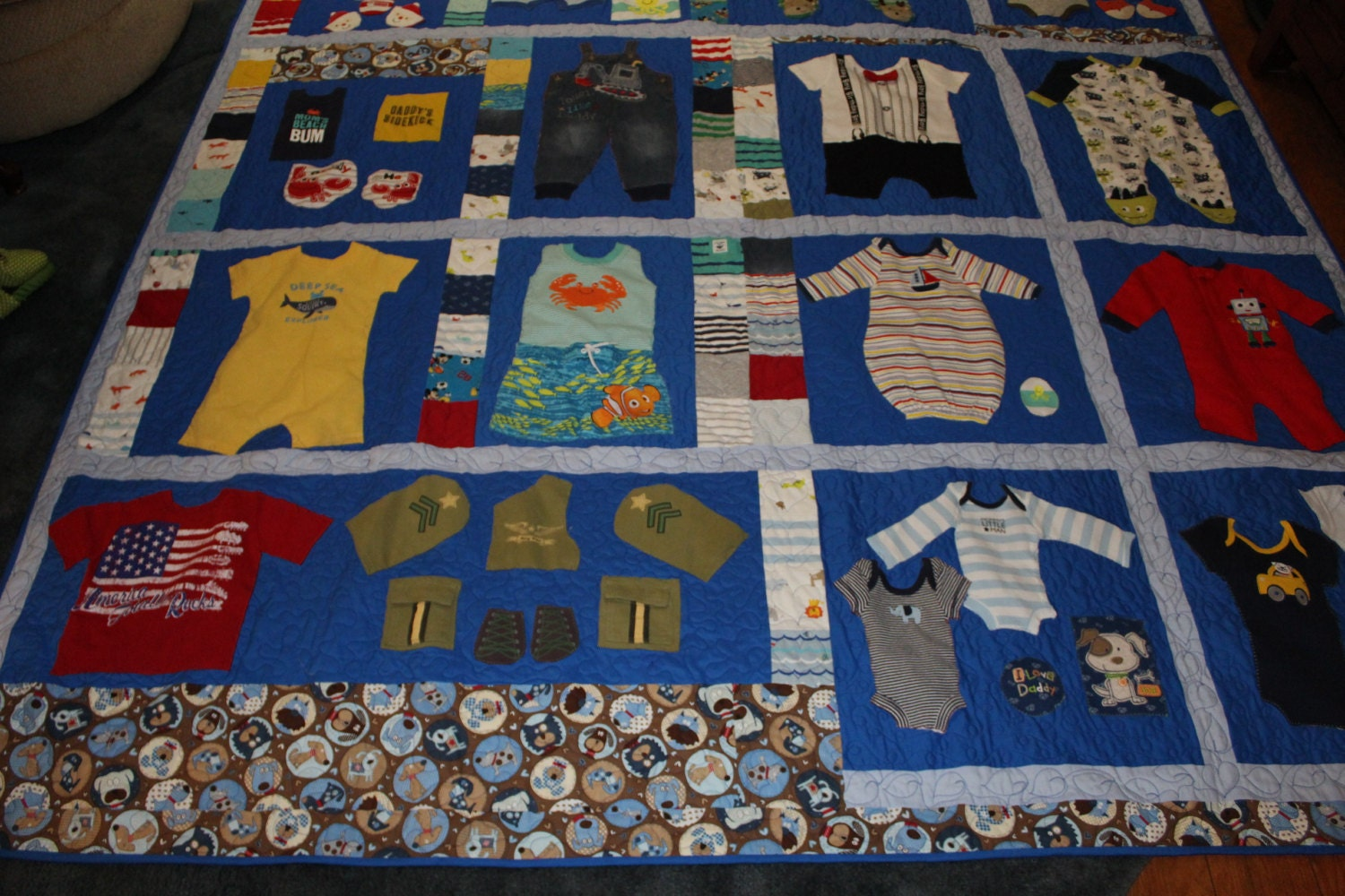 Baby Boy 1st Year Quilt First Year Memory Quiltbaby Clothes