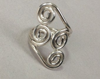 Sterling Silver Scroll Filigree Ring Size 8