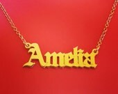 Name Necklace Gold Vermeil Name Pendant Vermeil Name Necklace Nameplate Necklace Old English Font Necklace Gothic Necklace Christmas Gift