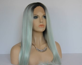 Ombre Dark Root Mint Green Long Straight Synthetic Lace Front Wig