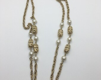 Gold Tone Pearl & Filagree Long Length Layered Chain Necklace