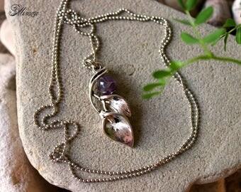 Amethyst Necklace, Amethyst Jewelry, Purple Necklace, Cala Lily Necklace, Chakra Necklace, Flower Necklace, Boho Necklace, Leaf Necklace
