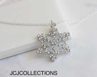 Silver Snow Flake Pendant Necklace, Crystal Snow Flake Pendant