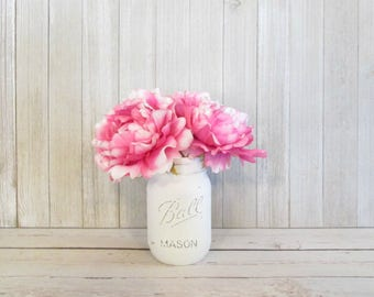 Peony Flower Pens with Painted White Mason Jar