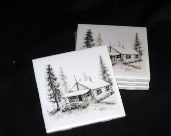 Old Cabin Coasters , Ceramic Tile coasters , Coasters , Drink Coasters