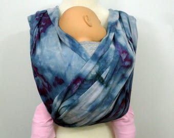Hand dyed woven baby wrap, organic cotton/linen, SIZE 7 (5,2m), denim blue, blue grey, navy, fuchsia, fuschia, pink, hot pink