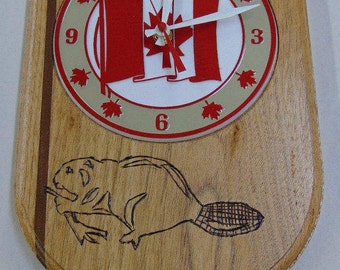 Canada clock, Handcraft clock, Wall clock, Kitchen clock, Crest shaped clock, Wood laminated clock