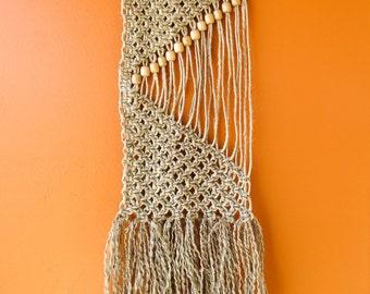 "Handmade Macrame Wall Hanging - Wall Decor - Hemp Cord and Wooden Beads on a Wooden Dowel 11"" X 24"""