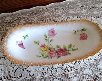 Antique Wheelock Germany Celery Dish with Pink and Yellow Roses and Gold Trim - Germany