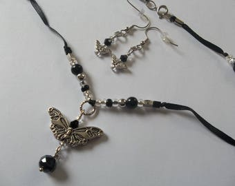 Unique BUTTERFLY beaded ribbon Necklace & Earring SET