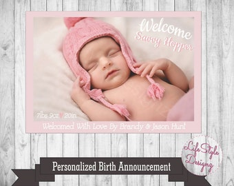 Welcome Baby Girl - Personalized Birth Announcement - Photo Card - Newborn Baby - Birth Photo Card - Baby Girl - Printable