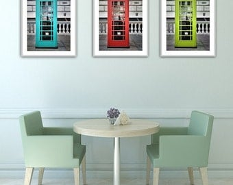 London Print Set, Set of 3 prints, London Phone Booth, Red, Blue, Lime, Decor, Wall Art, Home Decor, Living Room Wall Art, Large Wall Art