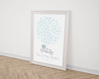 Wedding Fingerprint Balloon guestbook A3/A2, Wall Decor, Wedding Tandem Bike Print, Alternative Keepsake, Rustic Wedding, Fingerprint Tree