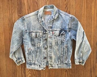 Vintage Levi's Light Wash Distressed Denim Jacket - Levi's Jean Jacket - Levi's Light Wash Denim Jacket - Large