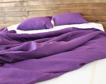 Purple linen duvet cover, only one left, queen linen duvet cover, linen duvet with shams, purple bedding, purple bedroom decor