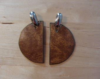 Vintage Earrings 70's Half Circle Wood Brown Gold Trim Hanging Dangle 1970's Boho Bohemian Fabulous Statement Cut Out Glam Summer Earthy Fun