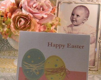 Happy Easter Greeting Card, Easter Eggs Greeting Card, Blank Easter Greeting