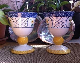 Herend Village Pottery Goblets (Set of 2) - EB Roache Lattice Hill 1993