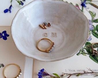 Personalised ceramic wedding bridesmaid gift ring dish, ceramic wedding gift, wedding ring dish, engagement gift, pottery ring dish, gift