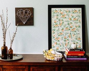 Geometric heart, modern wall art, living room wall art, bedroom wall art, nursery wall art, girl room, home decor, gift, love, wood wall art