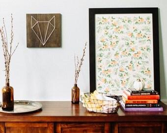 Geometric fox, woodland fox, fox head, nursery wall art, boy room, wood wall art, animal art, modern, minimalist, home decor, gift,