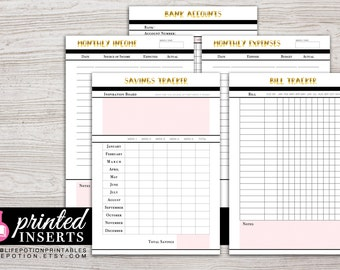 A5 Printed Planner Inserts - Finance Planner - Savings Tracker - Expense - Income - Filofax A5 - Kikki K Large - Design: Goldie