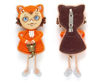 "Baby ""Fiona"" fox beaded brooch, Beaded art doll brooch, Baby girl gift, Jewelry for little girls, Child's birthday gift, Orange fox doll"
