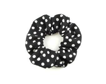 Scrunchie - 100 % cotton black and white polka dots