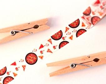 Kawaii Pizza Washi Tape - 1 Roll: Pepperoni Pizza Washi Tape - Washi Masking Tape