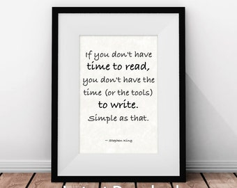 Gifts for Writers, Stephen King Quote, Writer Gift, Writer's Quote, Inspirational, Literary Print, Literary Quotes, Printable Art
