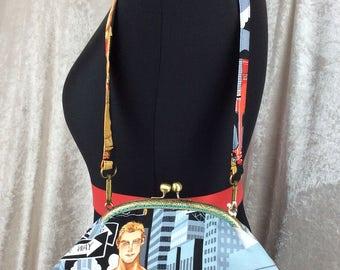 Hunky Firemen Grace handbag purse clutch bag Alexander Henry Ready for Action Fabric handmade in England