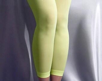 Thin shiny spandex leggings neon yellow