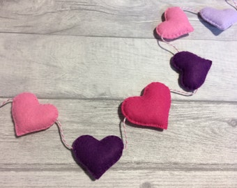 Heart garland, nursery bunting , felt heart bunting, nursery garland, valentines heart decoration, Mother's Day heart bunting, nursery decor