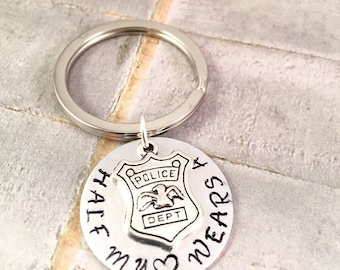 Police Badge keychain, Police officer keychain, Half my heart, Badge charm, police officer wife's gift, wife of police officer, gift for her