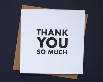 Thank You So Much greetings card: typographic thank you card, a big thank you - available in vibrant pink and orange or bold black and white