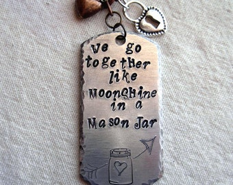 Moonshine in Mason Jar Stamped Dog Tag Silver Necklace |Rustic|Romantic|Wedding