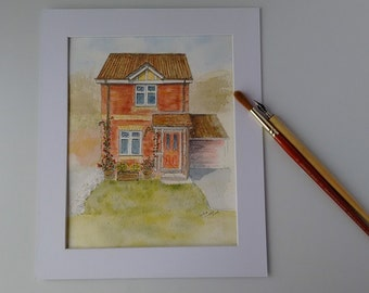 Customised House Painting, Watercolour, Hand-painted Commissioned Artwork, Personalised House Picture,