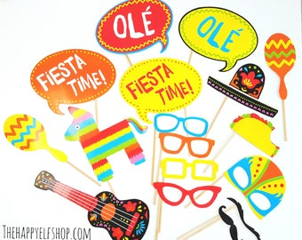 Fiesta party photo props- 17 PCS. Photo booth props. Fiesta. Fiesta party supplies. Taco bout a party. Taco tuesday. Fiesta party supplies