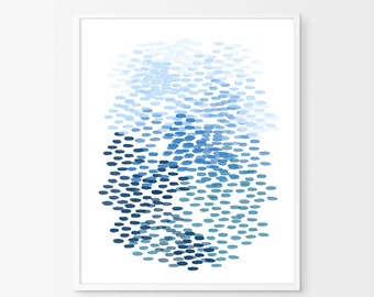 Blue Abstract Watercolor Painting Brushstrokes Dashes Dots Indigo Blue Wall art Navy Print Minimalist art Large Watercolor Print Modern art