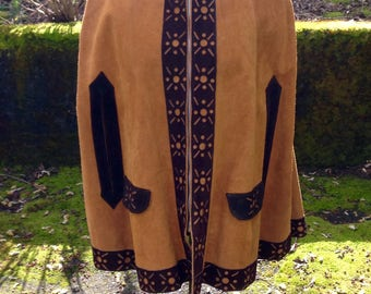 Vintage 60's/70's Leather Poncho With Zipper