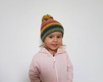 Rainbow Beanie, Baby Kids Adult Beanie, Colorful Beanie, Beanie with Pom Pom, Soft Warm Beanie, Winter Hat - MADE TO ORDER