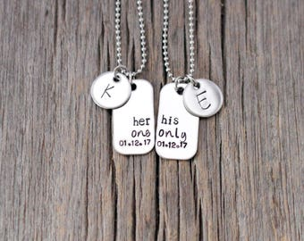 Hand stamped couples necklace set / his one her only / personalized/ his and hers / his hers / anniversary date / initials