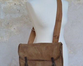 Vintage Canvas and Leather Satchel, Bag, Vintage, Leather, Woman, Mens, Messenger Bag, Leather Bag, Laptop Case