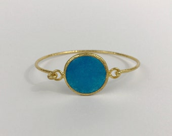 Blue chalcadony Hammered bangle