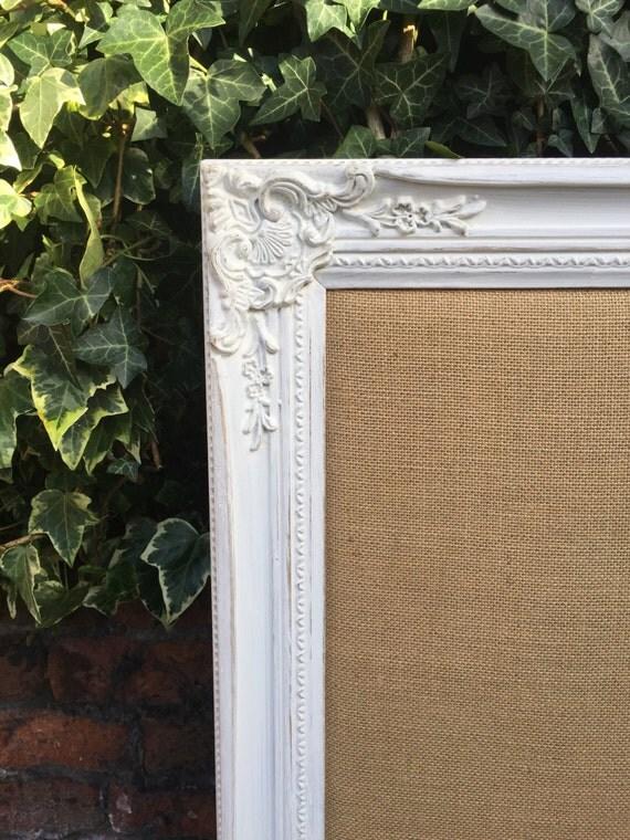 BURLAP WEDDING BOARD - Wedding Planner Board - Shabby Chic Style Notice Board - Framed Burlap Message Board - Hessian Board - Jute Board