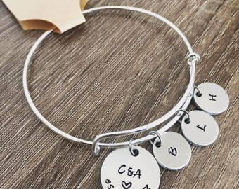 Family bangle bracelet / Hand stamped initial and date bracelet / Anniversary date bangle / Initial bracelet / personalized established date