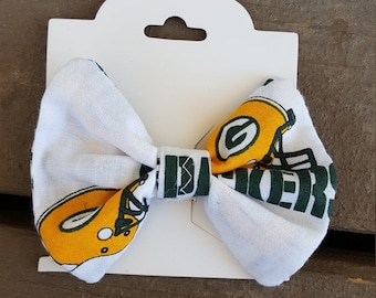 White Green Bay Packers Hair Bow